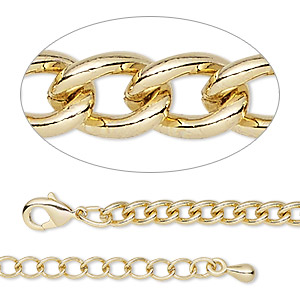 chain, gold-finished steel and brass, 3.7mm curb, 18 inches with 2-inch extender chain and lobster claw clasp. sold individually.