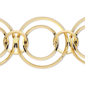 chain, gold-plated brass, 11mm / 16mm / 23mm interlocking round. sold per pkg of 5 feet.
