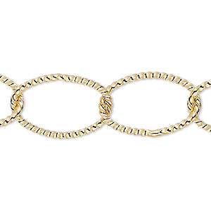chain, gold-plated brass, 14mm twisted oval cable. sold per pkg of 5 feet.