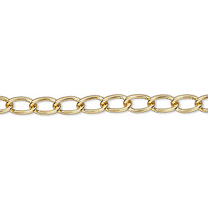 chain, gold-plated brass, 4mm curb. sold per 50-foot spool.