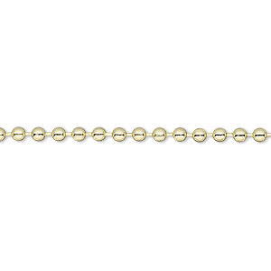 chain, gold-plated steel, 2.4mm ball. sold per pkg of 12 feet.