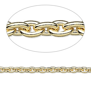 chain, gold-plated steel, 3.3mm cable. sold per pkg of 5 feet.