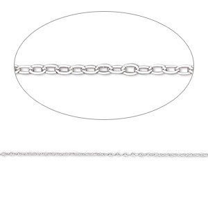chain, gossamer™, sterling silver, 0.6mm cable, 7-1/2 inches with springring clasp. sold individually.