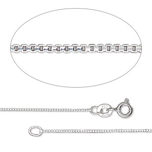 chain, gossamer™, sterling silver, 0.7mm box, 7-1/2 inches with springring clasp. sold individually.