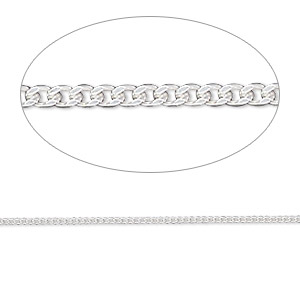 chain, gossamer™, sterling silver, 1.2mm curb. sold per pkg of 5 feet.