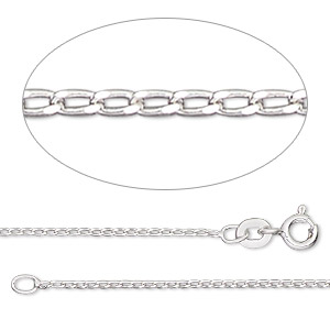 chain, gossamer™, sterling silver, 1mm curb, 7-1/2 inches with springring clasp. sold individually.