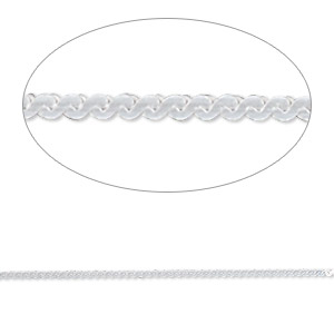 chain, gossamer™, sterling silver, 1mm serpentine, 20 inches. sold individually.