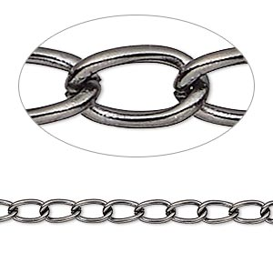 chain, gunmetal-plated brass, 4mm curb. sold per pkg of 5 feet.