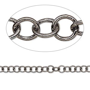 chain, gunmetal-plated brass, 4mm round cable. sold per 50-foot spool.