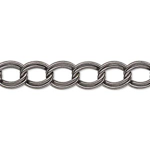 chain, gunmetal-plated steel, 8mm double curb. sold per pkg of 5 feet.