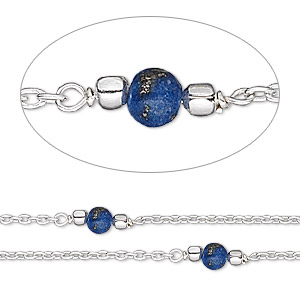 chain, lapis lazuli (natural) and sterling silver, 4mm beaded round. sold per pkg of 5 feet.