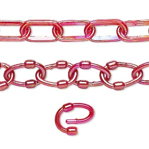chain, plastic, red ab, 13x7mm oval with 13x9mm oval link. sold per pkg of (5) 16-inch sections.
