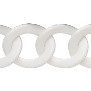 chain, resin, white, 29x24mm twisted oval. sold per pkg of 16 inches.