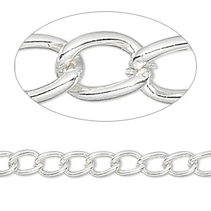 chain, silver-finished brass, 5mm curb. sold per pkg of 50 feet.