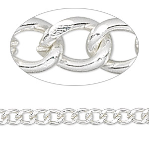 chain, silver-finished brass, 6x5mm curb. sold per pkg of 50 feet.
