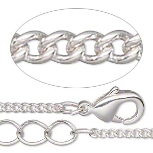 chain, silver-plated brass, 1.5mm curb, 7-1/2 inches with 1-1/4 inch extender chain and lobster claw clasp. sold per pkg of 6.