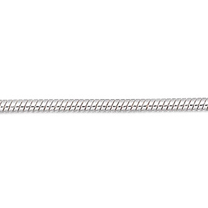 chain, silver-plated brass, 1mm snake, 24 inches with 1-inch extender chain and lobster claw clasp. sold per pkg of 2.