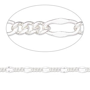 chain, silver-plated brass, 3mm figaro. sold per pkg of 5 feet.