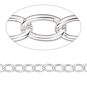 chain, silver-plated brass, 4mm curb. sold per pkg of 5 feet.