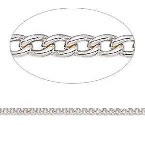 chain, silver-plated steel, 2mm curb. sold per pkg of 5 feet.