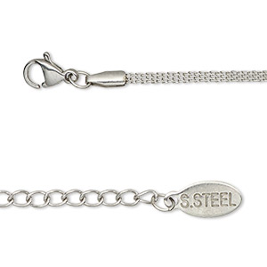 chain, stainless steel, 1.5mm flat, 18 inches with 2-inch extender chain and lobster claw clasp. sold individually.