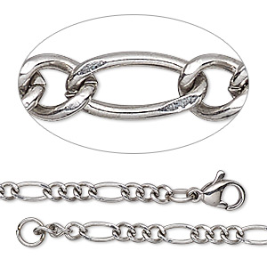 chain, stainless steel, 3.5mm figaro, 20 inches with lobster claw clasp. sold individually.