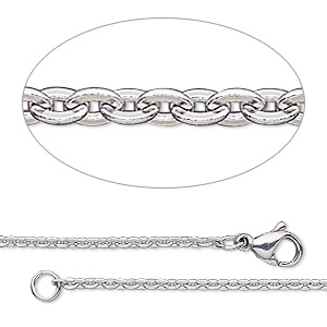 chain, steel and stainless steel, 2.4x1.8mm flat oval cable, 18 inches with lobster claw clasp. sold individually.