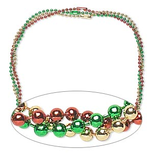 chain, steel, gold / green / red, 2.4mm ball, 18 inches with ball chain connector. sold per pkg of 3.