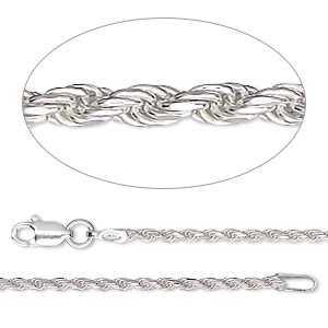 chain, sterling silver, 1.4mm diamond-cut french rope, 20 inches. sold individually.