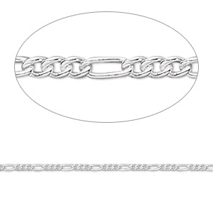 chain, sterling silver, 1.4mm figaro. sold per pkg of 5 feet.