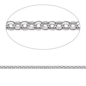 chain, sterling silver, 1.5mm rolo. sold per pkg of 5 feet.