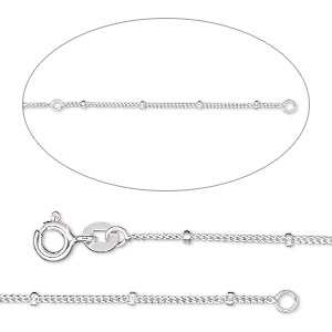 chain, sterling silver, 1mm curb and 1.8mm rondelle bead, adjustable at 16 and 18 inches with springring clasp. sold individually.