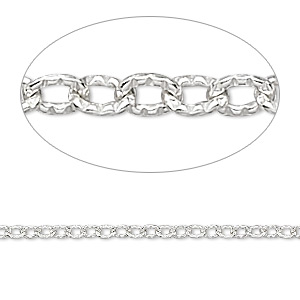 chain, sterling silver, 2.5x2mm ribbed flat cable. sold per pkg of 5 feet.