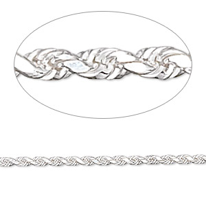 chain, sterling silver, 2mm french rope, 6-1/2 inches. sold individually.