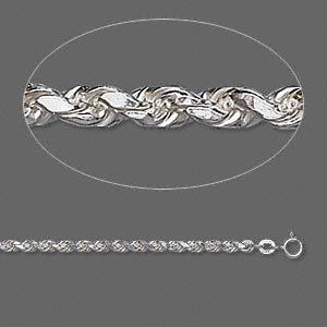 chain, sterling silver, 3.75mm french rope, 24 inches. sold individually.