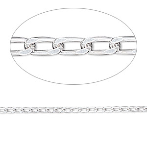 chain, sterling silver, 3x1.7mm diamond-cut long curb. sold per pkg of 5 feet.