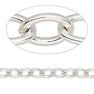 chain, sterling silver, 5.7mm heavy cable. sold per pkg of 5 feet.
