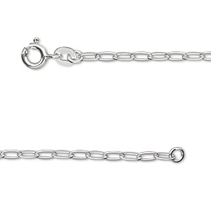 chain, sterling silver, 5x2.5mm flat oval cable, 18 inches with springring clasp. sold individually.