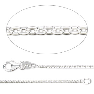 chain, sterling silver-filled, 1.5mm flat cable. sold per pkg of 5 feet.