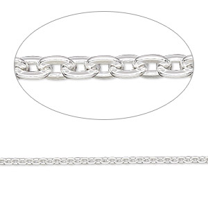 chain, sterling silver-filled, 1.8mm flat cable. sold per pkg of 5 feet.
