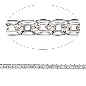 chain, sterling silver-filled, 2.7mm cable. sold per 50-foot spool.