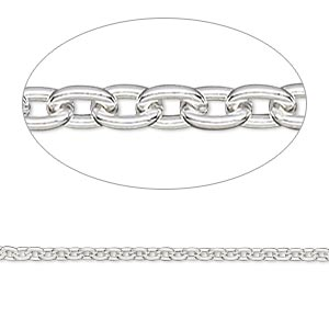 chain, sterling silver-filled, 2mm cable. sold per 50-foot spool.