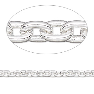 chain, sterling silver-filled, 3mm cable. sold per pkg of 5 feet.