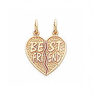 charm, 14kt gold, 17x16mm best friend heart. sold individually.