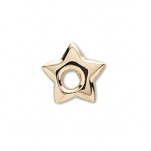 charm, 14kt gold, 22x21.5mm puffed star. sold individually.