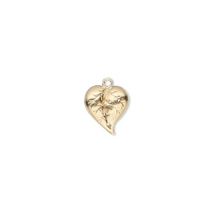 charm, 14kt gold-filled, 10x9mm single-sided leaf. sold individually.