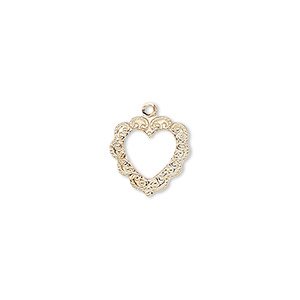 charm, 14kt gold-filled, 12mm single-sided open heart with fancy textured edge. sold individually.