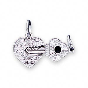 charm, 14ktw white gold, 12x12mm heart and 17x9mm key. sold individually.