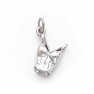 charm, 14ktw white gold, 15x12mm bustier. sold individually.