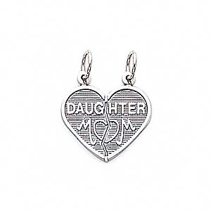 charm, 14ktw white gold, 18x15mm heart with mom and daughter. sold individually.